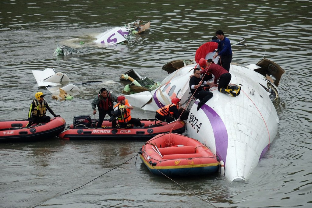 Rescue work at plane crash site of Taiwanese TransAisa ATR-72 Plane