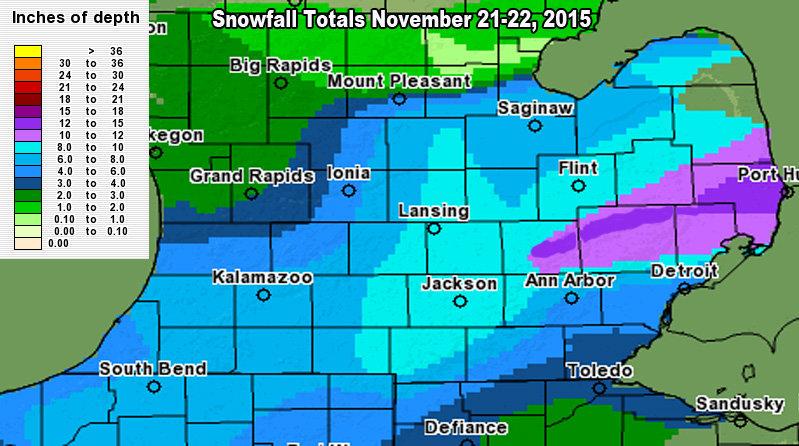 Snow totals in Southern half Michigan November 21 2015
